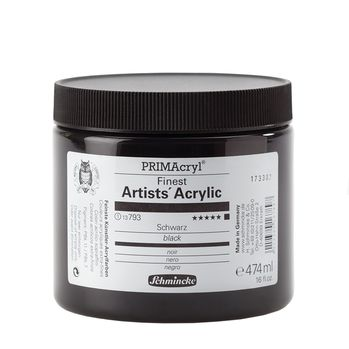 PRIMAcryl® Finest Artists' Acrylic Schwarz Tiegel  474 ml 13793054